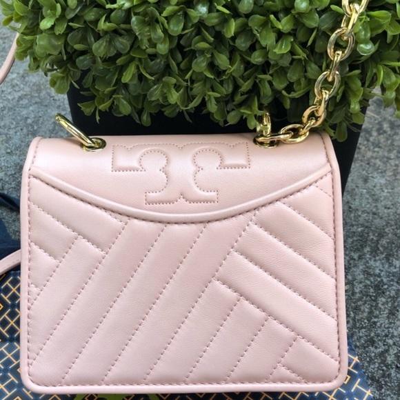 f1ca519c7ff0 Tory Burch Alexa Mini Dark Pink Gold Shoulder Bag
